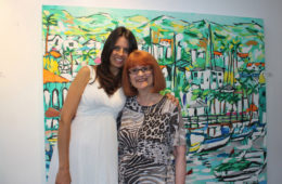 artist Brooke Harker with author Chellie Campbell at Malibleu Gallery in Malibu, CA
