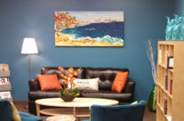 """original painting """"Coastal Dreamin' 2 """" by Brooke Harker in it's home at OfficeSlice"""