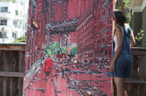 """artist Brooke Harker after completing """"Heather in Brooklyn"""""""