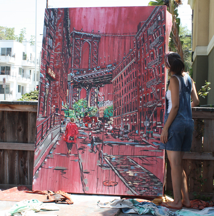 "artist Brooke Harker after completing ""Heather in Brooklyn"""
