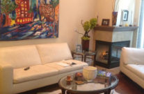"""original painting """"Olympic City"""" by Brooke Harker in it's home"""