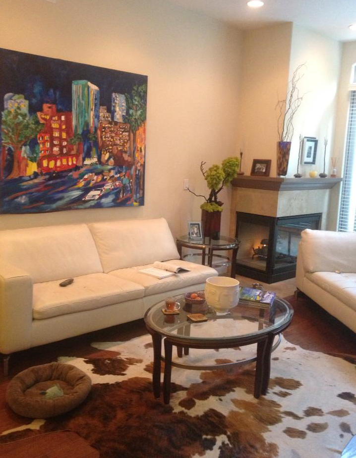 Living room design with olympic city by artist brooke harker for Olympic homes
