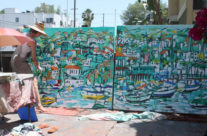artist Brooke Harker painting large scale Catalina paintings