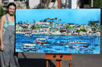 """artist Brooke Harker with """"Liberated Waters"""""""
