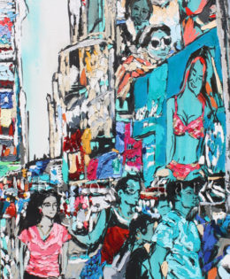 Vacation in the City 2 |45″ x 22″ x 2.75″ | ink, oil & acrylic on canvas | by Brooke Harker