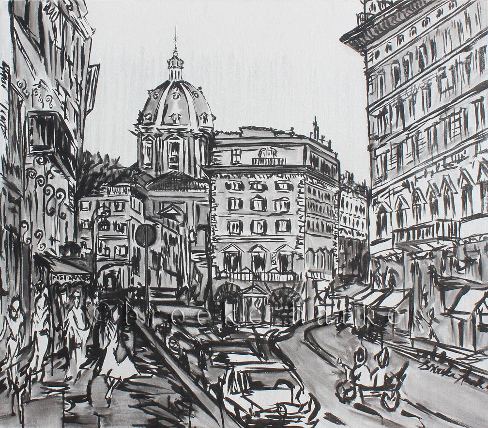 A Glimpse of Rome | 31 x 36 | ink & acrylic on canvas | by Brooke Harker