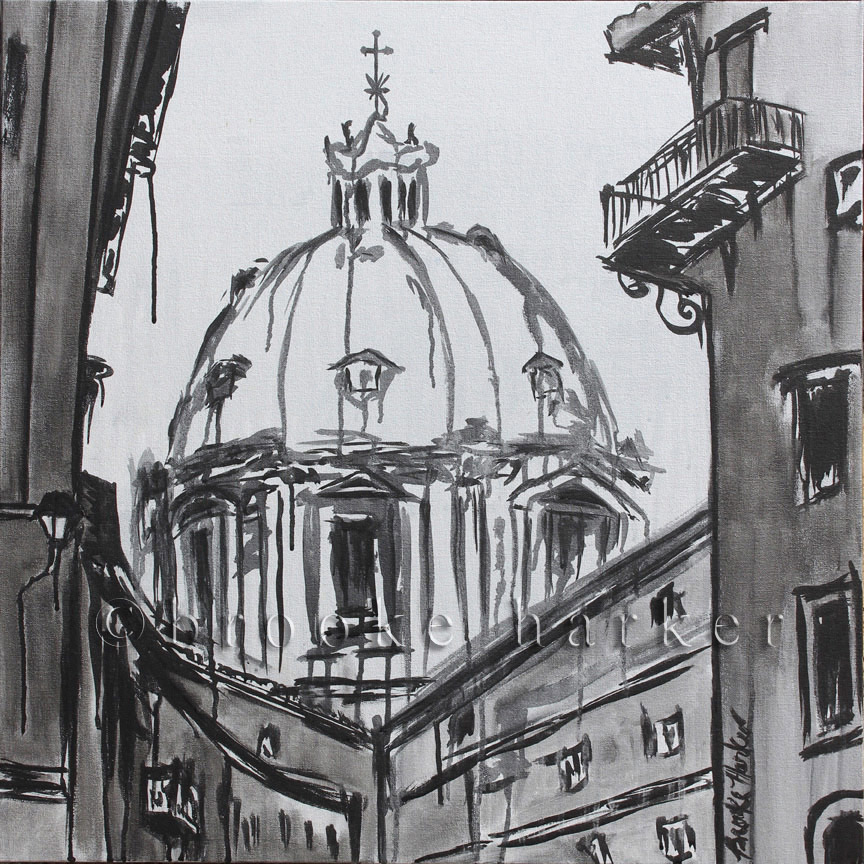 A Moment in Rome | 26 x 26| ink & acrylic on canvas | by Brooke Harker