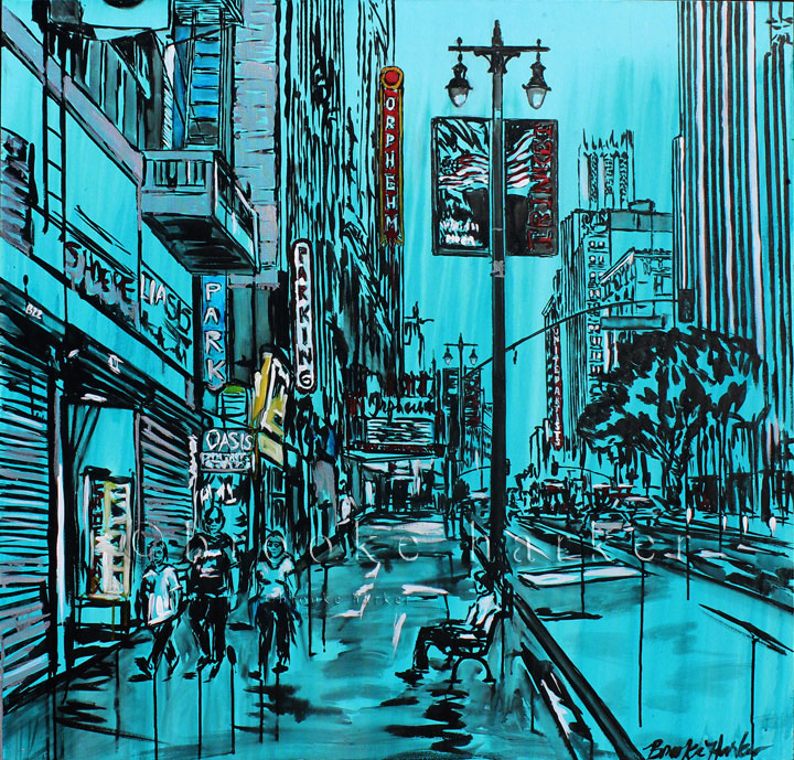 Song of Downtown | 44 x 46 | ink, oil & acrylic on canvas | by Brooke Harker