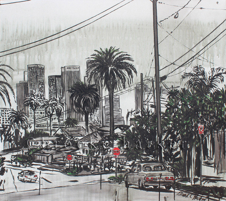 A View From Angelino Heights | 34 x 38 | ink & acrylic on canvas | by Brooke Harker