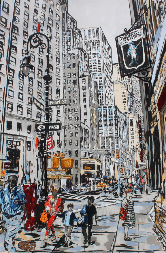 Corner of Pearl |90″ x 60″ x 3.75″| ink, oil & acrylic on canvas | by Brooke Harker | SOLD