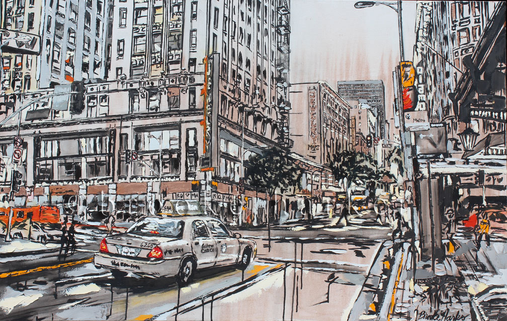 Flicker of the Town | 34 x 54| ink, oil and acrylic on canvas | by Brooke Harker | SOLD