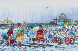 Knitting the Shore | 22 x 49 | ink, oil & acrylic on canvas | by Brooke Harker