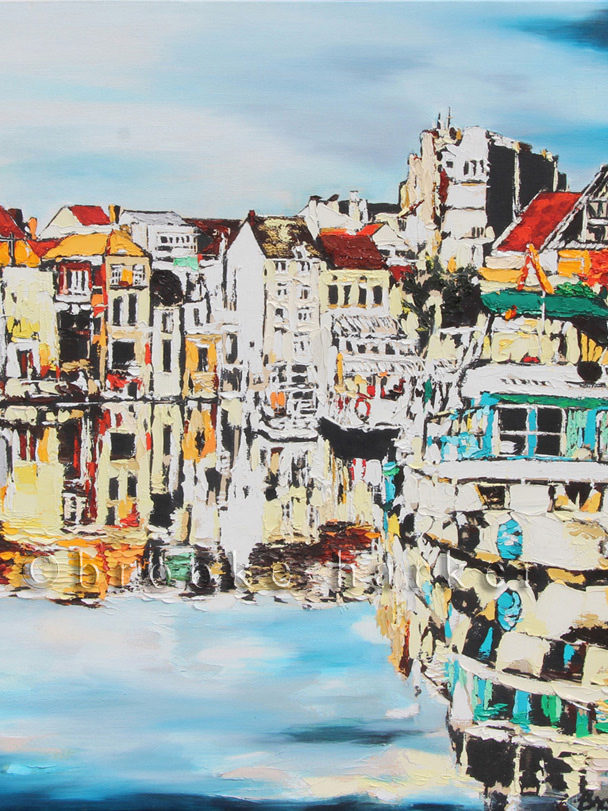 Reflections of Ghent | 30 x 30 | ink, oil & acrylic on canvas | by Brooke Harker