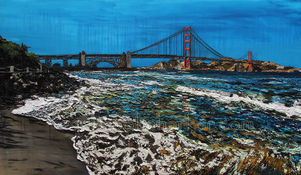 Golden Gate Shores | 42 x 72 | ink, oil & acrylic on canvas | by Brooke Harker