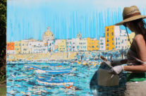 painting a scene in Trapani, Sicily