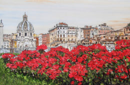 Fiori di Roma | 42 x 74 | ink, oil and acrylic on canvas | by Brooke Harker | SOLD