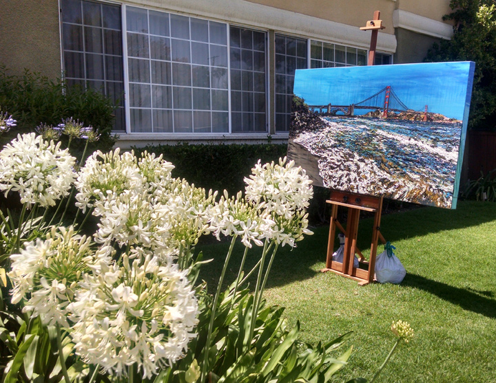 "the original painting ""Golden Gate Shores"" in the garden studio"