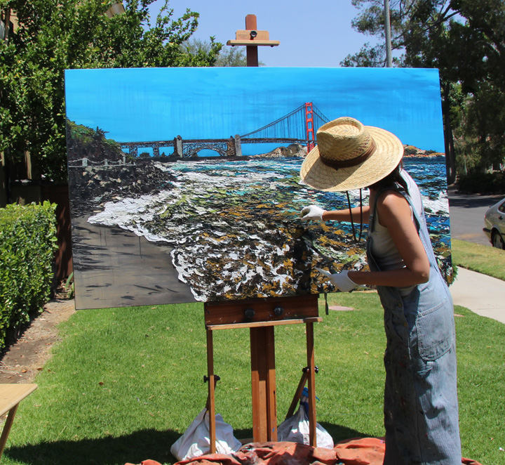"artist Brooke Harker continues painting ""Golden Gate Shores"""
