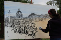 """painting early stages of """"Fiori di Roma"""""""