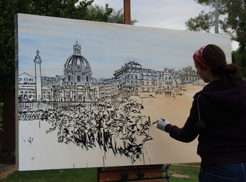 "painting early stages of ""Fiori di Roma"""