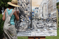 """early stages of painting """"Passing Through"""""""