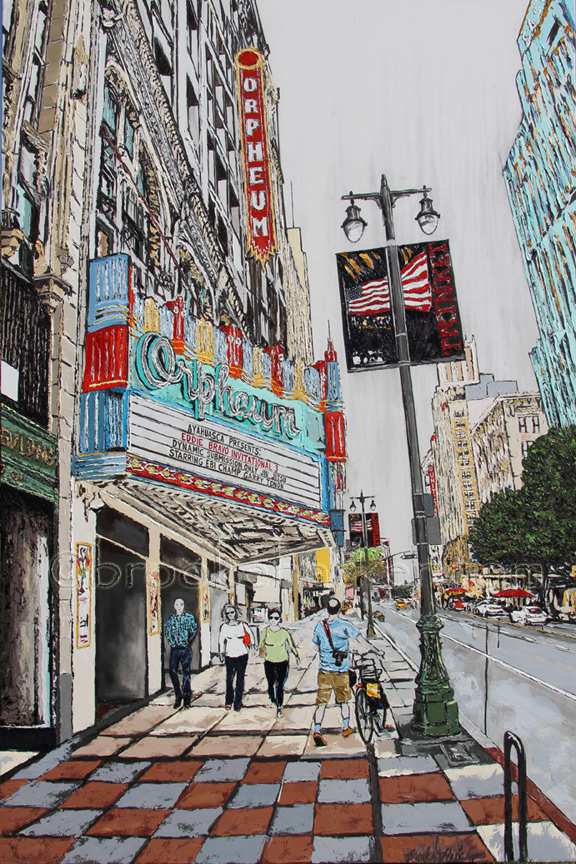 Kevin in the City | 84 x 56 | ink, oil & acrylic on canvas | by Brooke Harker | SOLD