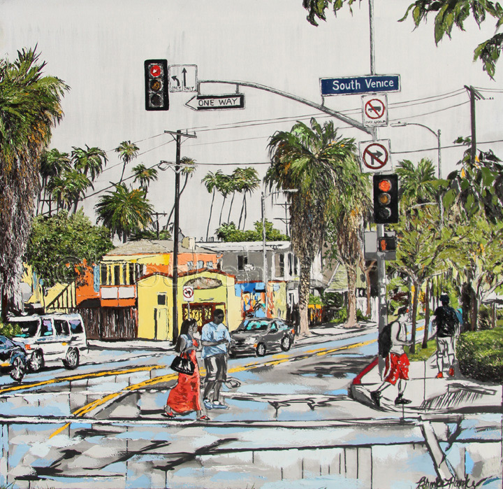 Boulevard Smile | 58″ x 60″ | ink, oil & acrylic on canvas | by Brooke Harker