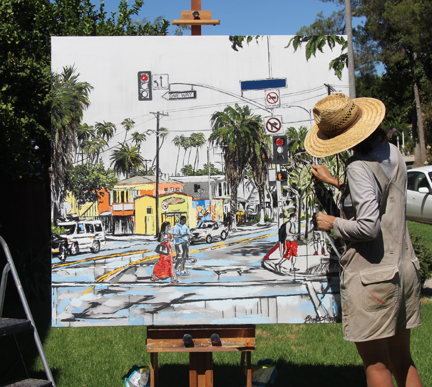 "almost finished painting ""Boulevard Smile"""