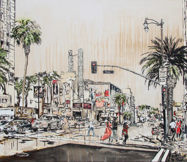 Hollywood & Vine | 54 x 74 | ink, oil & acrylic on canvas | by Brooke Harker | SOLD