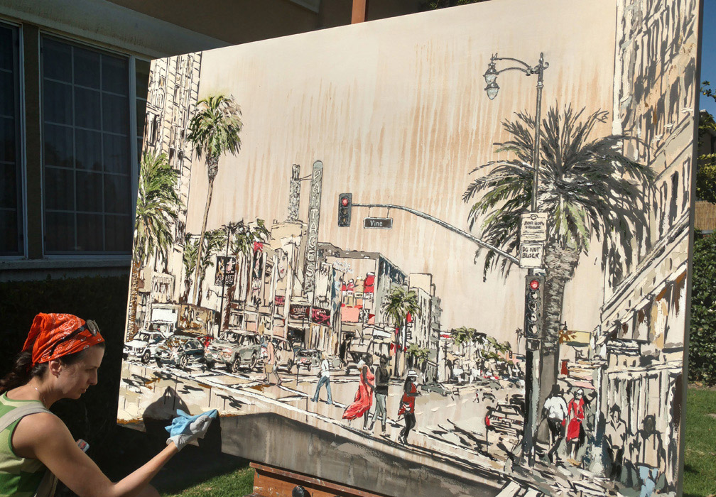 artist painting Hollywood & Vine