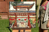 artist with original painting of the Huangqi Temple