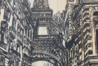 La Tour Eiffel Incognito | 64 x 33 | ink & acrylic on canvas | by Brooke Harker | SOLD