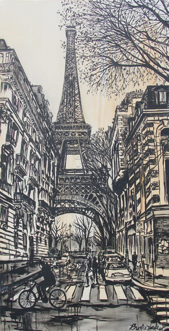 La Tour Eiffel Incognito | 64 x 33 | ink & acrylic on canvas | by Brooke Harker