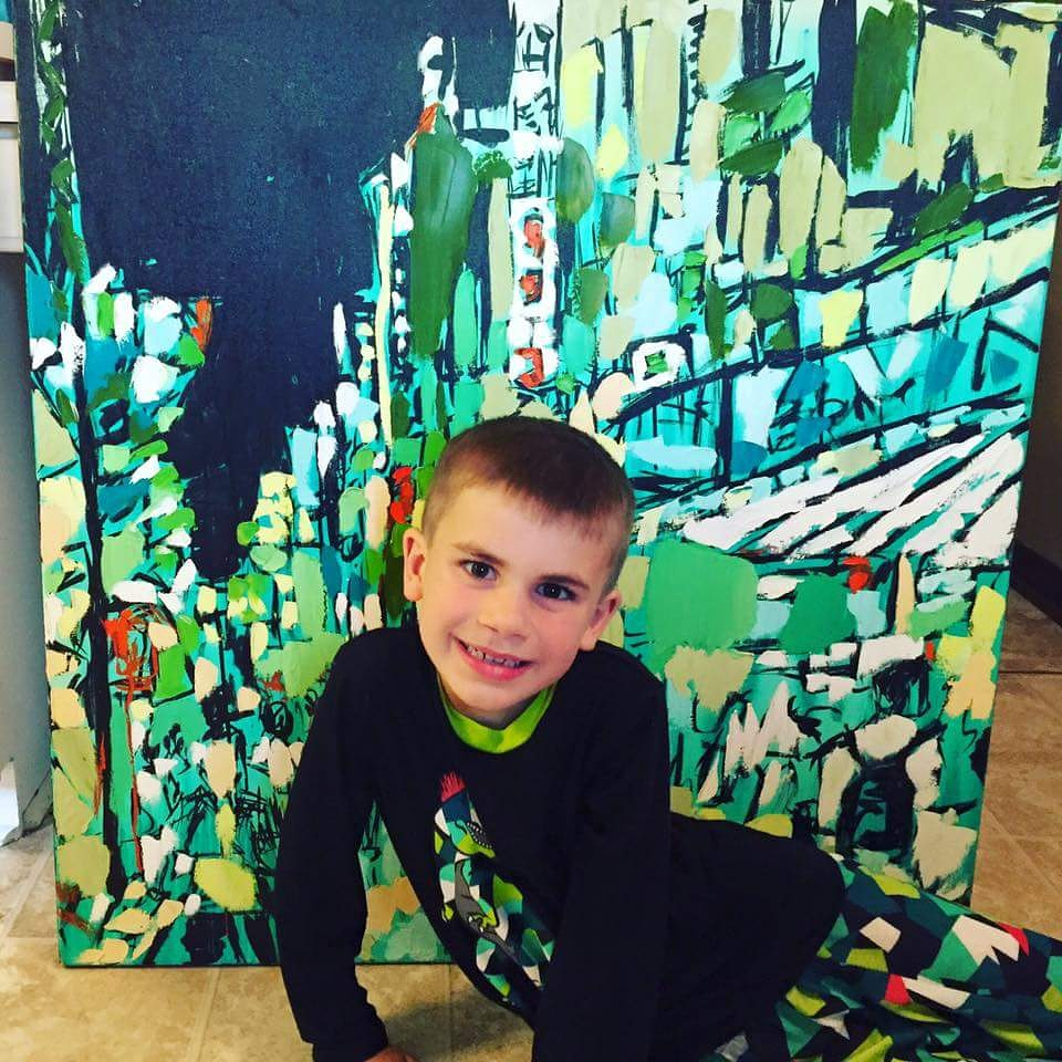 pajamas to match a cityscape painting by Brooke Harker