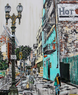 Downtown Stride | 90 x 60 | ink, oil and acrylic | by Brooke Harker