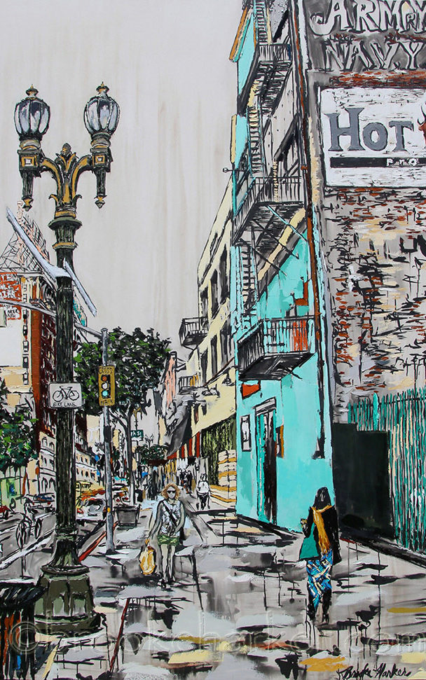 Downtown Stride   by Brooke Harker    90 x 60   ink, oil and acrylic