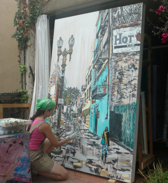 "Brooke Harker painting ""Downtown Stride"""