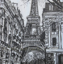 Dreams of Paris | 50 x 28 | ink & acrylic on canvas | by Brooke Harker | SOLD
