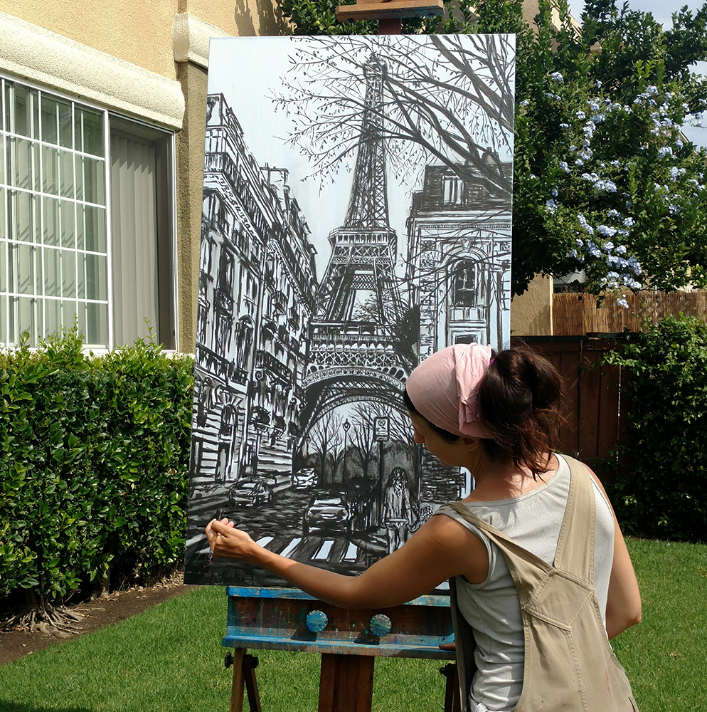 artist Brooke Harker painting Dreams of Paris