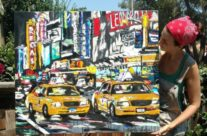 """artist Brooke Harker with """"Parade of Taxis"""""""