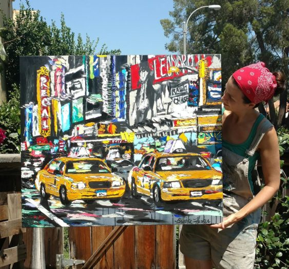 "artist Brooke Harker with ""Parade of Taxis"""
