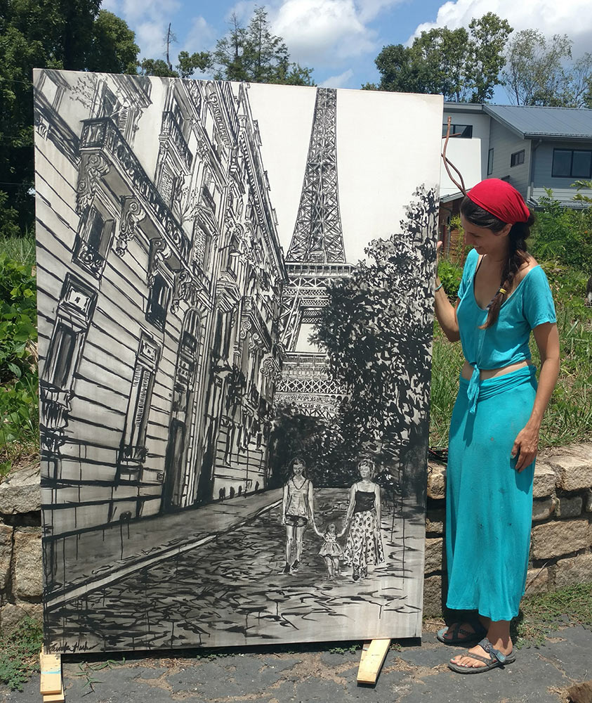 "artist Brooke Harker with ""Sisters in Paris"""