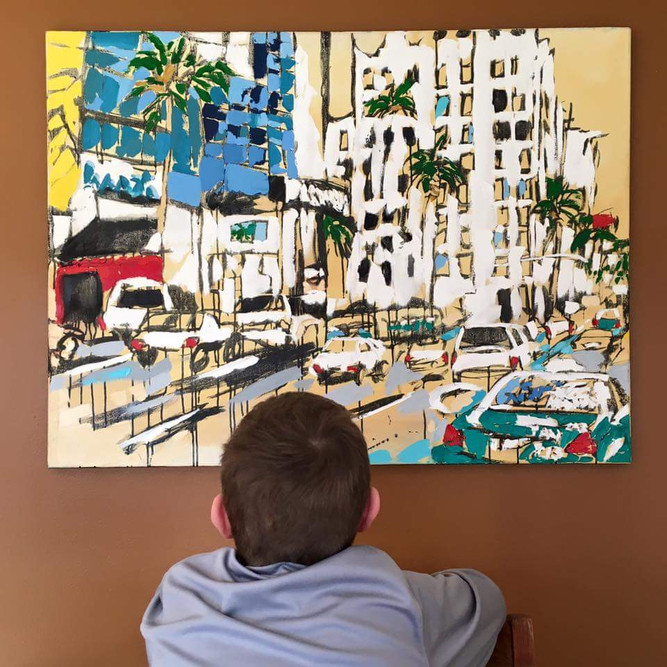 """child of art collectors with """"Taxi 213"""" by Brooke Harker"""