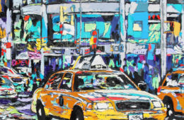 Jewel of the City   30 x 30   ink, acyrlic & oil on canvas   by Brooke Harker