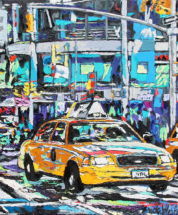 Jewel of the City | 30 x 30 | ink, acyrlic & oil on canvas | by Brooke Harker