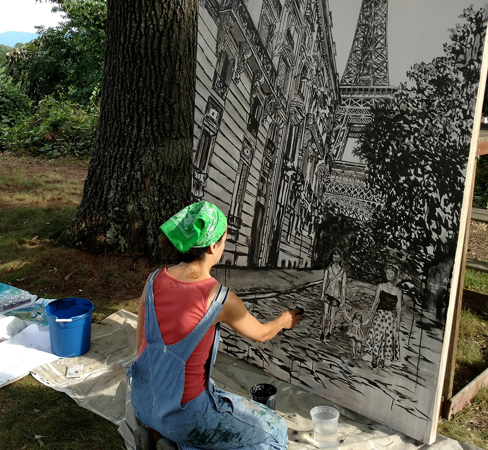 Brooke Harker painting Sisters in Paris on location in Asheville, NC