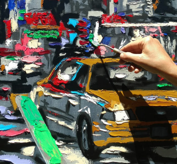 "Harker paints ""Parade of Taxis"""