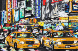 Parade of Taxis   32 x 38   ink, acrylic and oil on canvas   by Brooke Harker