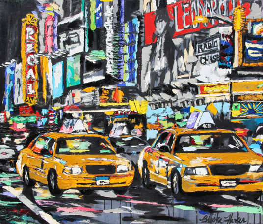 Parade of Taxis | 32 x 38 | ink, acrylic and oil on canvas | by Brooke Harker