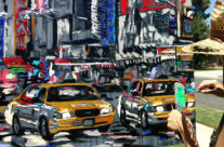"""Harker painting """"Parade of Taxis"""""""